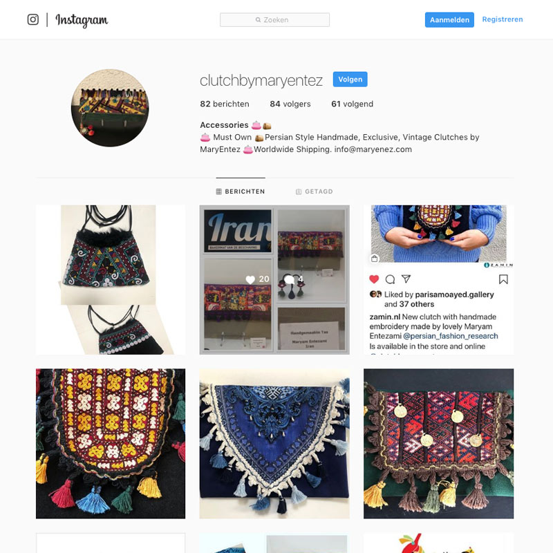 Clutch Handmade Persian Accessories: Instagram