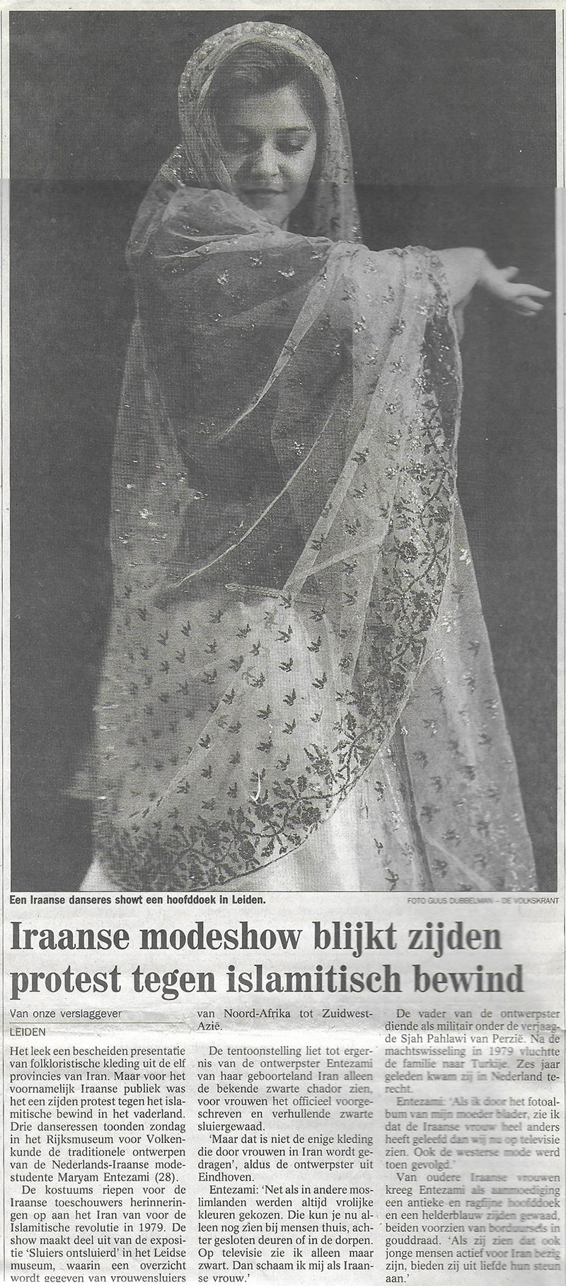Volkskrant, Netherlands, 1999, News & Press - Historic Persian Fashion Design & Research