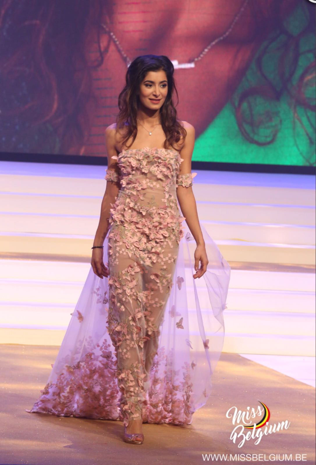 Custom design for Shakila, one of Miss Belgium's finalists in 2017, walking straight.