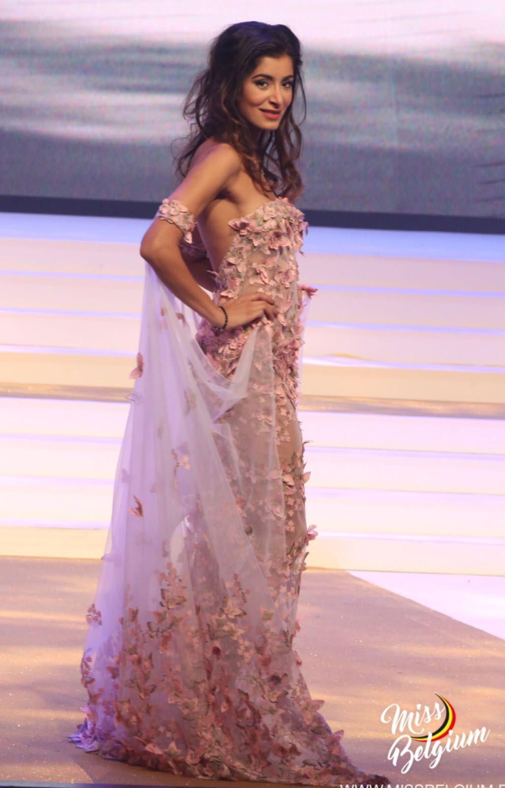 Custom design for Shakila, one of Miss Belgium's finalists in 2017, standing sideways.